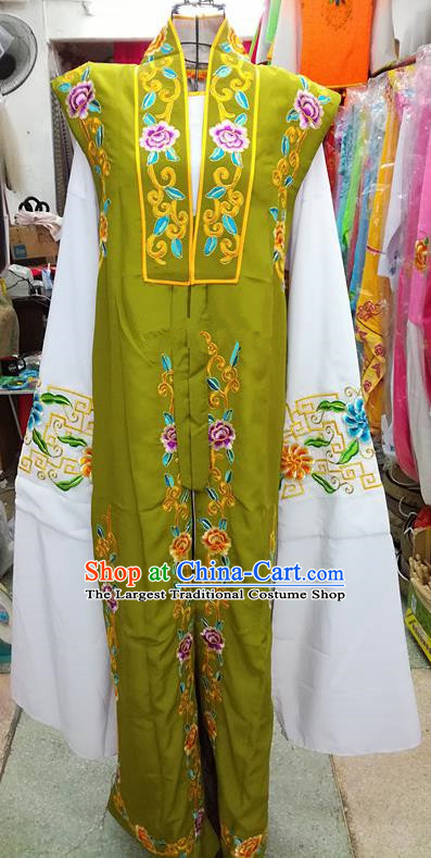 Chinese Traditional Beijing Opera Old Gentleman Costume Peking Opera Embroidered Green Clothing for Adults