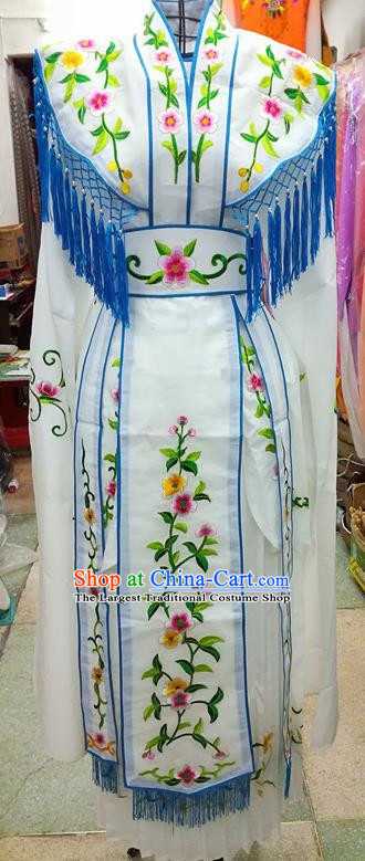 Chinese Traditional Beijing Opera Young Lady Costume Peking Opera Diva White Dress for Adults