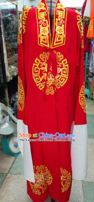 Chinese Traditional Beijing Opera Old Gentleman Costume Peking Opera Red Robe for Adults