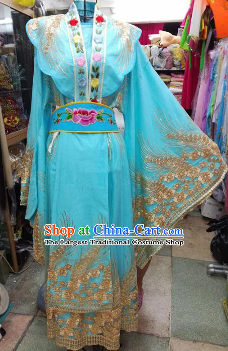 Chinese Traditional Beijing Opera Actress Blue Dress Peking Opera Empress Costume for Adults