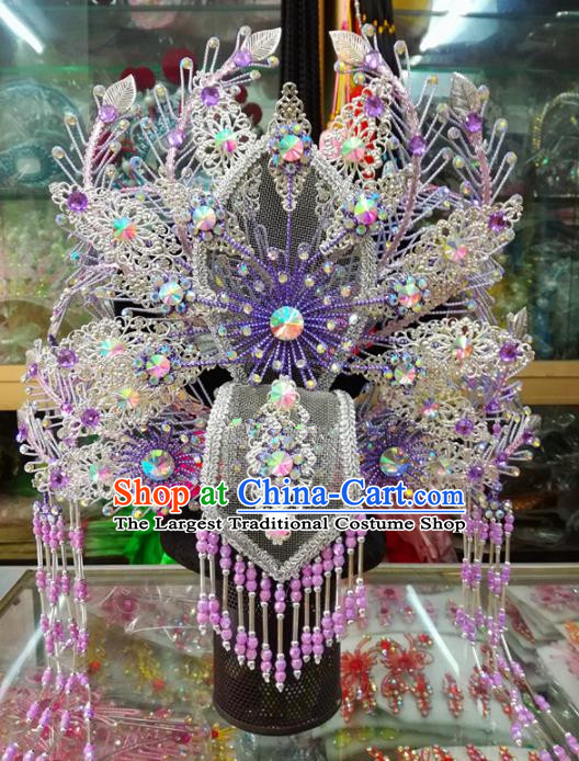 Chinese Traditional Beijing Opera Actress Purple Phoenix Coronet Head Ornaments Hair Accessories for Adults