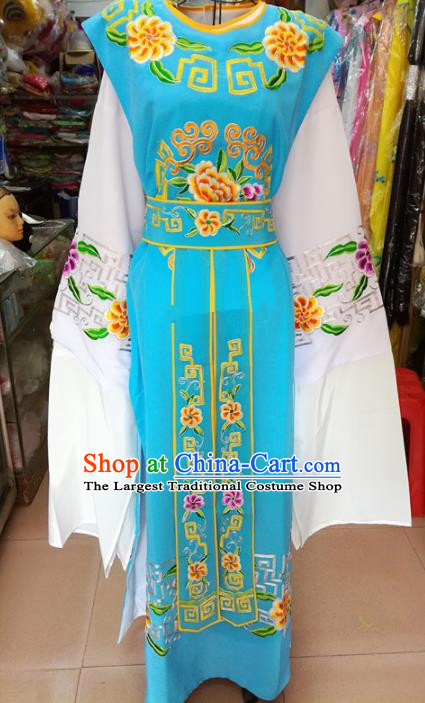 Chinese Traditional Beijing Opera Niche Costume Peking Opera Scholar Blue Robe for Adults