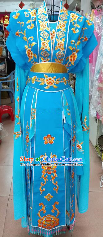 Chinese Traditional Beijing Opera Nobility Lady Blue Dress Peking Opera Actress Costume for Adults