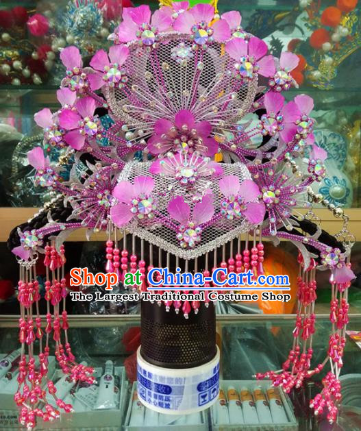 Chinese Traditional Beijing Opera Hair Accessories Peking Opera Princess Purple Phoenix Coronet Hairpins for Adults