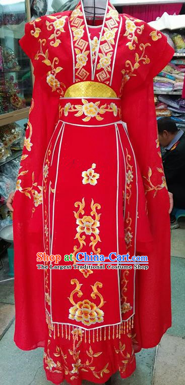 Chinese Traditional Beijing Opera Nobility Lady Red Dress Peking Opera Actress Costume for Adults