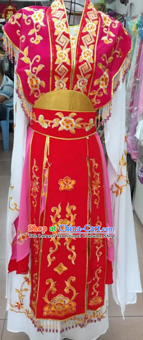 Chinese Traditional Beijing Opera Princess Red Dress Peking Opera Actress Costume for Adults