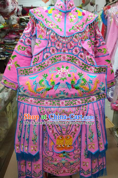 Chinese Traditional Beijing Opera Female General Pink Clothing Peking Opera Actress Costume for Adults
