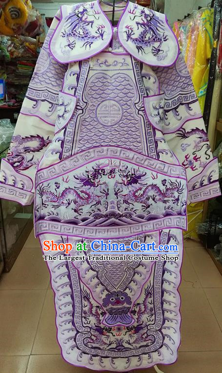 Chinese Traditional Beijing Opera General Purple Costume Peking Opera Military Officer Robe for Adults