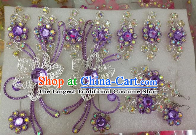 Chinese Traditional Beijing Opera Actress Crystal Purple Hairpins Hair Accessories for Adults