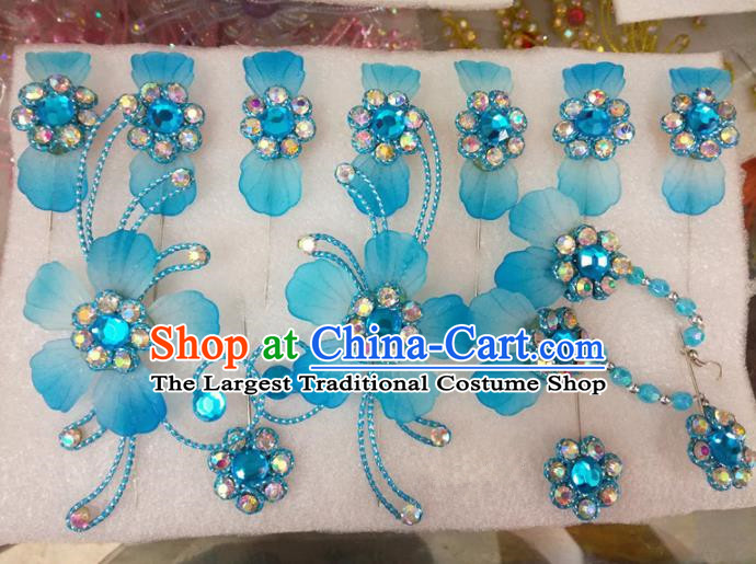 Chinese Traditional Beijing Opera Hair Accessories Peking Opera Princess Blue Flowers Hairpins Complete Set for Adults