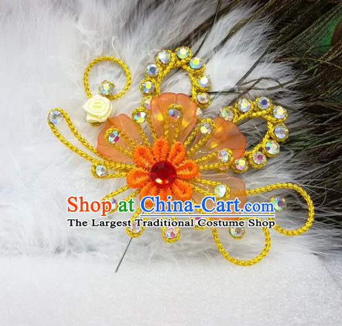 Chinese Traditional Beijing Opera Actress Hair Accessories Peking Opera Princess Yellow Flowers Hairpins for Adults