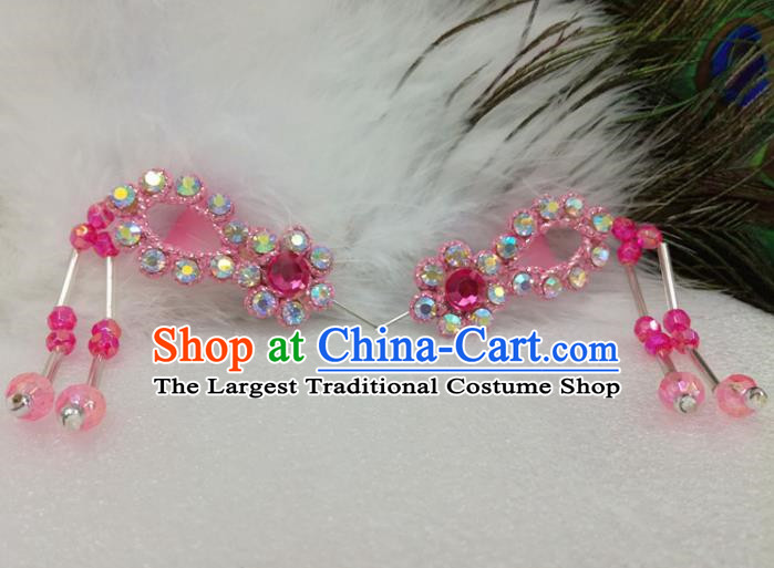 Chinese Traditional Beijing Opera Actress Hair Accessories Ancient Princess Pink Hairpins for Adults