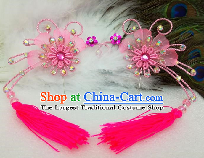 Chinese Traditional Beijing Opera Actress Pink Tassel Flower Hair Clips Hair Accessories Ancient Hairpins for Adults
