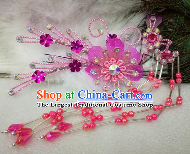 Chinese Traditional Beijing Opera Actress Rosy Flower Hairpins Hair Accessories for Adults