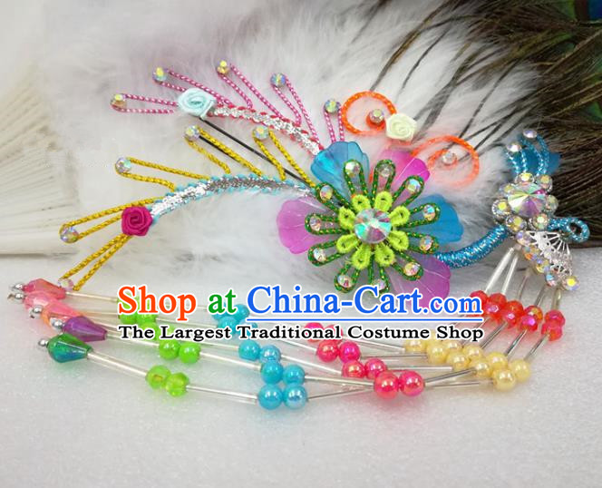 Chinese Traditional Beijing Opera Actress Colorful Flower Hairpins Hair Accessories for Adults
