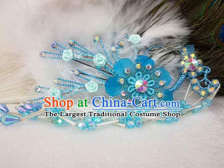 Chinese Traditional Beijing Opera Actress Blue Flower Hairpins Hair Accessories for Adults