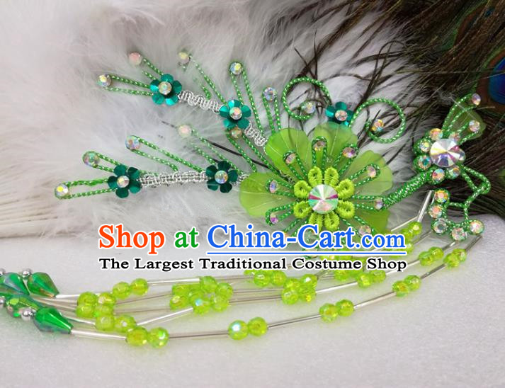 Chinese Traditional Beijing Opera Actress Green Flower Hairpins Hair Accessories for Adults