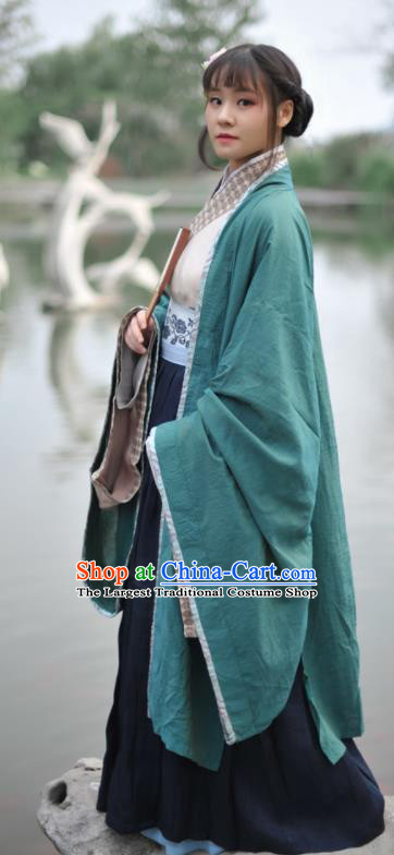 Chinese Ancient Swordswoman Green Hanfu Dress Jin Dynasty Young Lady Historical Costume Complete Set for Women