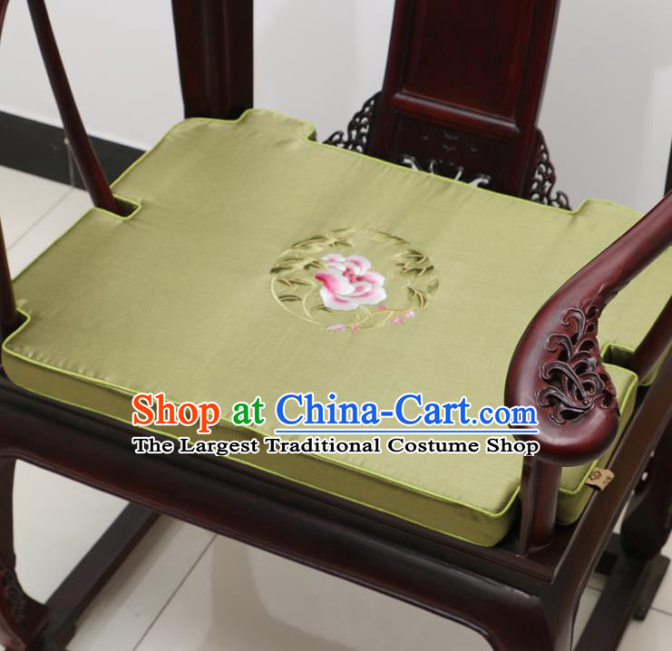 Chinese Classical Household Ornament Armchair Cushion Cover Traditional Embroidered Peony Olive Green Brocade Mat Cover