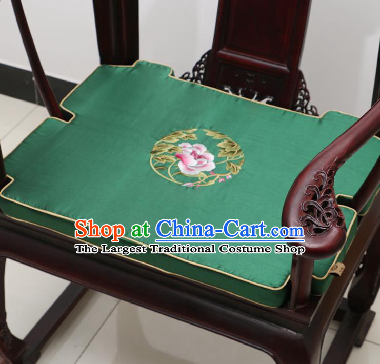 Chinese Classical Household Ornament Armchair Cushion Cover Traditional Embroidered Peony Green Brocade Mat Cover