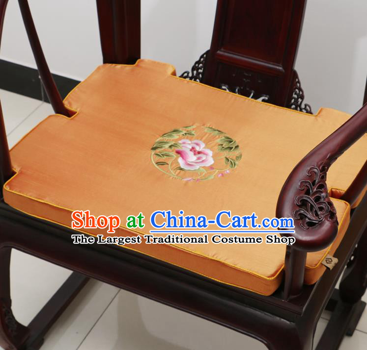 Chinese Classical Household Ornament Armchair Cushion Cover Traditional Embroidered Peony Orange Brocade Mat Cover