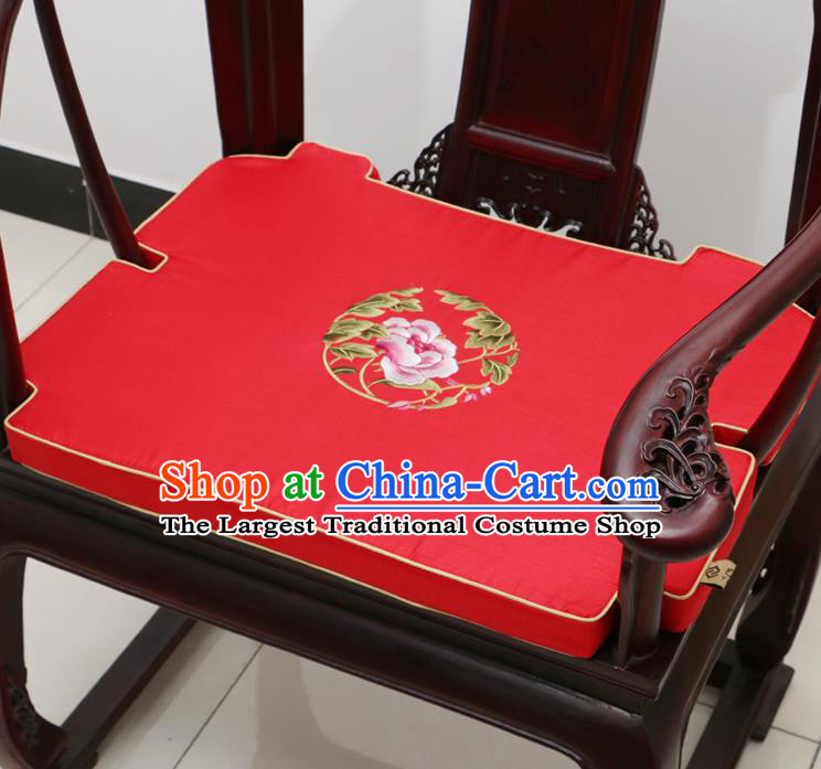 Chinese Classical Household Ornament Armchair Cushion Cover Traditional Embroidered Peony Red Brocade Mat Cover