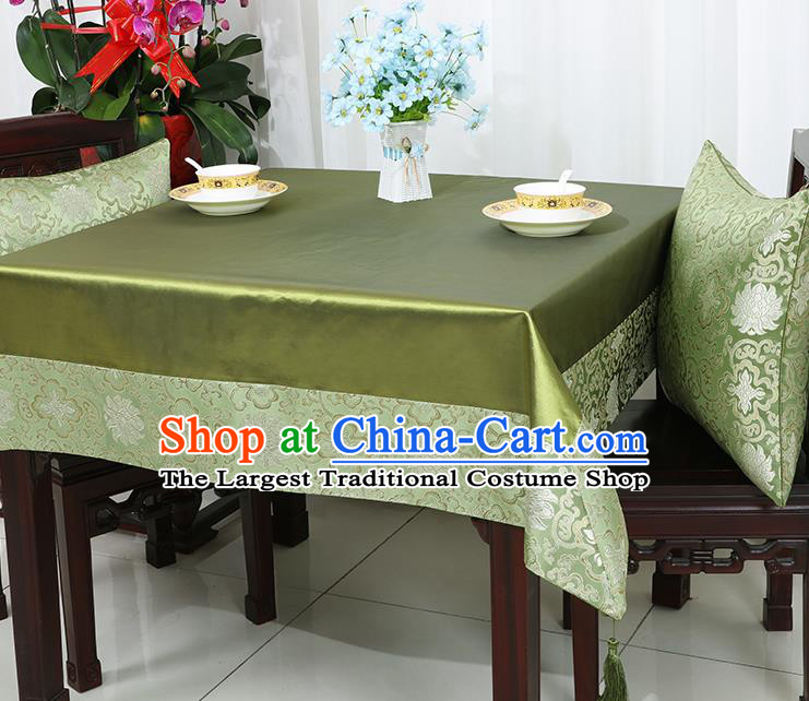 Chinese Traditional Lotus Pattern Green Brocade Table Cloth Classical Satin Household Ornament Desk Cover