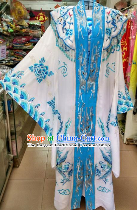 Chinese Traditional Beijing Opera Queen Blue Dress Peking Opera Actress Costume for Adults