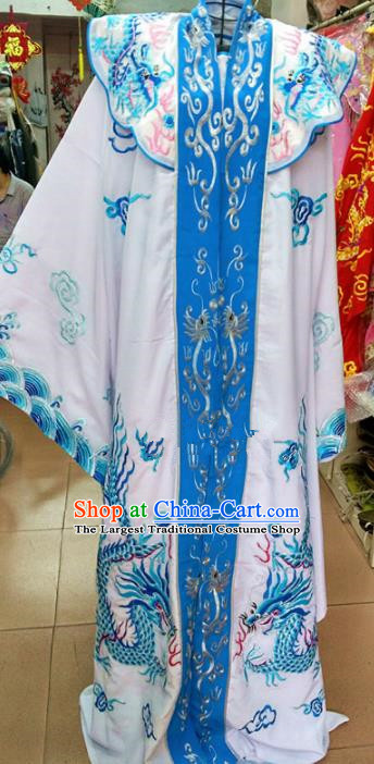 Chinese Traditional Beijing Opera Emperor Costume Peking Opera Niche Blue Robe for Adults