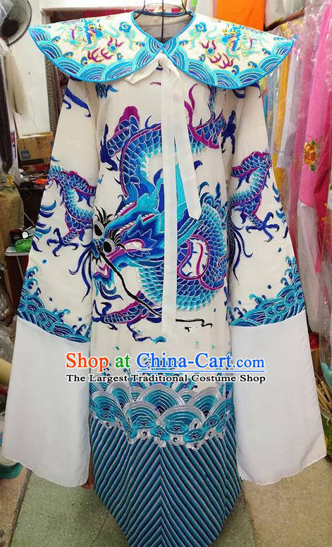 Chinese Traditional Beijing Opera Minister Costume Peking Opera Old Men White Embroidered Robe for Adults