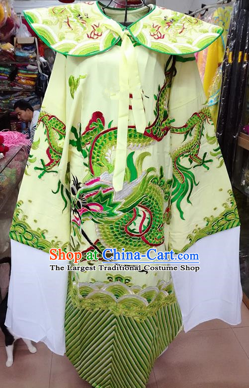 Chinese Traditional Beijing Opera Minister Costume Peking Opera Old Gentleman Green Embroidered Robe for Adults