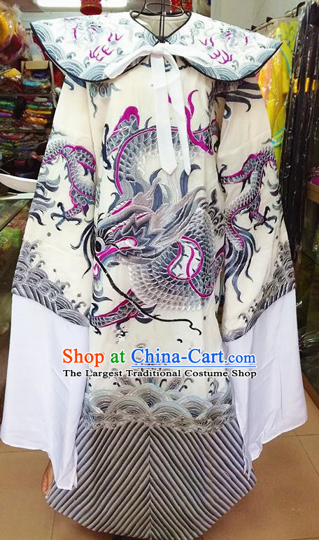 Chinese Traditional Beijing Opera Minister Costume Peking Opera Old Gentleman Grey Embroidered Robe for Adults