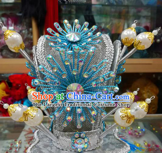 Chinese Traditional Beijing Opera Headwear Peking Opera Niche Blue Beads Hairdo Crown for Adults