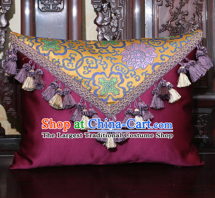 Chinese Traditional Lotus Pattern Purple Brocade Back Cushion Cover Classical Household Ornament