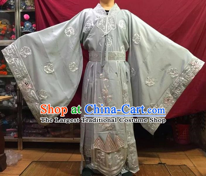 Chinese Traditional Beijing Opera Emperor Costume Peking Opera King Grey Embroidered Robe for Adults