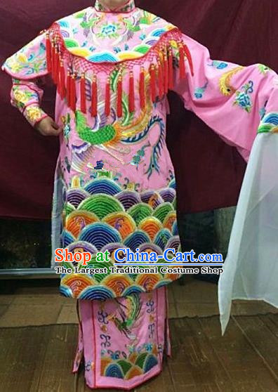 Chinese Traditional Beijing Opera Queen Pink Water Sleeve Dress Peking Opera Actress Costume for Adults
