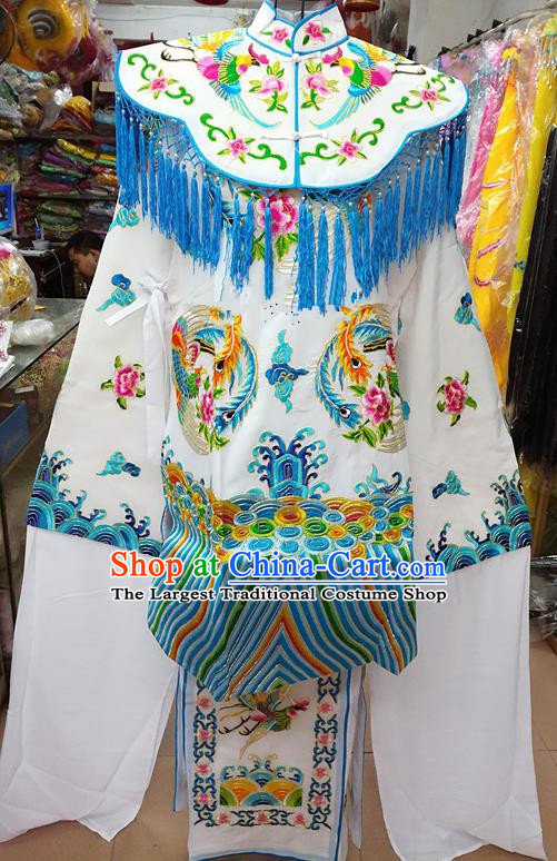 Chinese Traditional Beijing Opera Empress White Embroidered Dress Peking Opera Actress Costume for Adults
