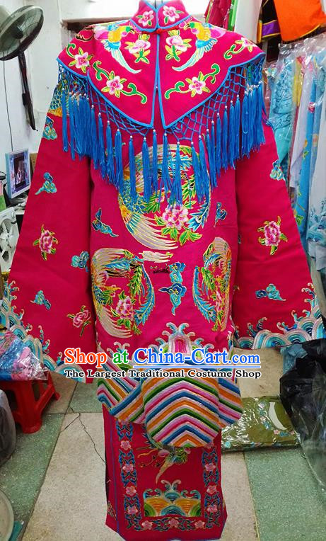 Chinese Traditional Beijing Opera Empress Rosy Embroidered Dress Peking Opera Actress Costume for Adults