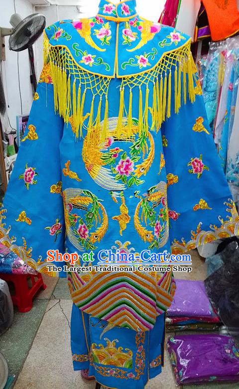 Chinese Traditional Beijing Opera Empress Blue Embroidered Dress Peking Opera Actress Costume for Adults
