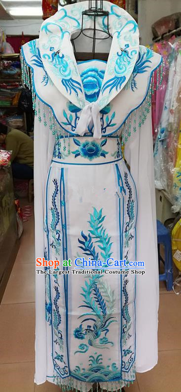 Chinese Traditional Beijing Opera Princess White Embroidered Dress Peking Opera Actress Costume for Adults