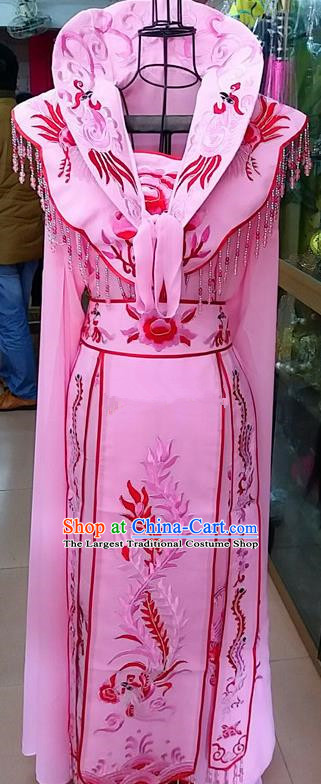 Chinese Traditional Beijing Opera Princess Pink Embroidered Dress Peking Opera Actress Costume for Adults
