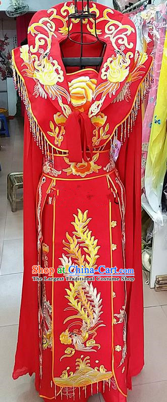 Chinese Traditional Beijing Opera Queen Red Embroidered Dress Peking Opera Actress Costume for Adults