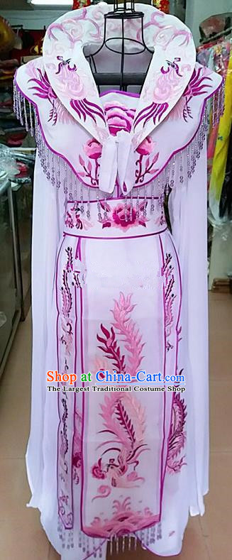 Chinese Traditional Beijing Opera Queen White Embroidered Dress Peking Opera Actress Costume for Adults