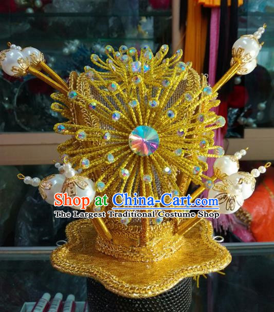 Chinese Traditional Beijing Opera Niche Headwear Peking Opera Prince Golden Hairdo Crown for Adults