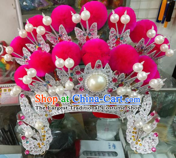 Chinese Traditional Beijing Opera Magic Warriors Rosy Venonat Phoenix Coronet Head Ornaments Hat Hair Accessories for Adults