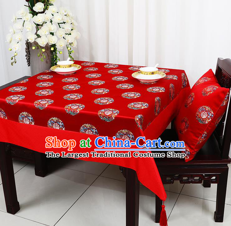 Chinese Traditional Lucky Character Pattern Red Brocade Table Cloth Classical Satin Household Ornament Desk Cover