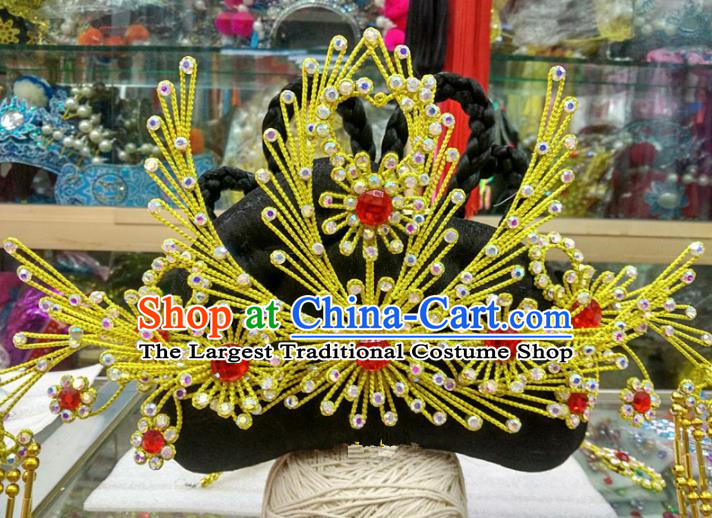 Chinese Traditional Beijing Opera Golden Phoenix Coronet Head Ornaments Hair Accessories for Adults