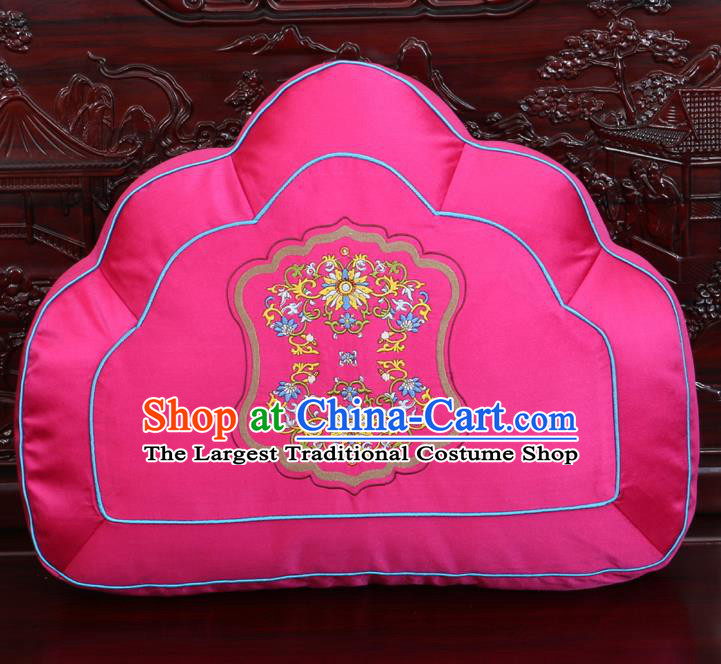 Chinese Traditional Embroidered Lotus Pattern Rosy Brocade Back Cushion Cover Classical Household Ornament