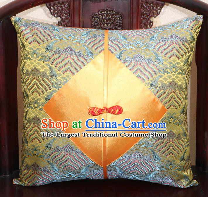 Chinese Classical Wave Pattern Golden Brocade Pipa Button Back Cushion Cover Traditional Household Ornament