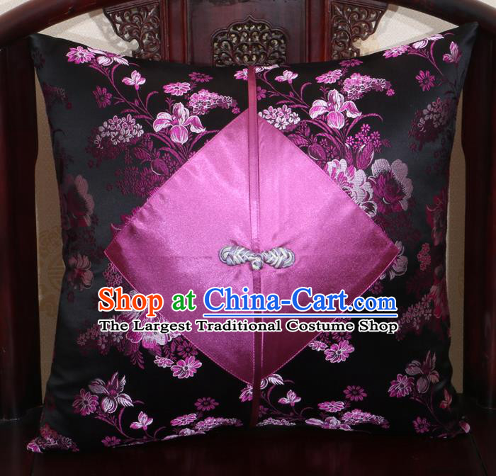 Chinese Classical Pattern Black Brocade Pipa Button Back Cushion Cover Traditional Household Ornament